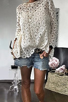 Classy Hollow Out Splicing Lace Blouse