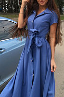 Turn Down Collar  Single Breasted  Belt  Plain  Short Sleeve Maxi Dresses