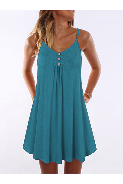 Spaghetti Strap  Double Breasted  Plain Shift Dress