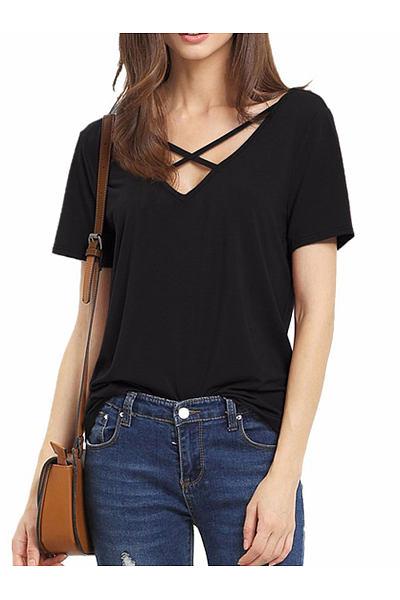 Summer  Polyester  Women  Surplice  Plain Short Sleeve T-Shirts