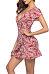 Deep V Neck  Belt  Floral Printed  Short Sleeve Casual Dresses