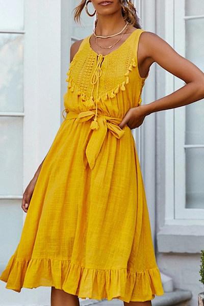 Summer Sleeveless Strappy Fringe Decorated Dress