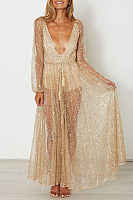 Deep V Neck Sequin See Through Maxi Dresses