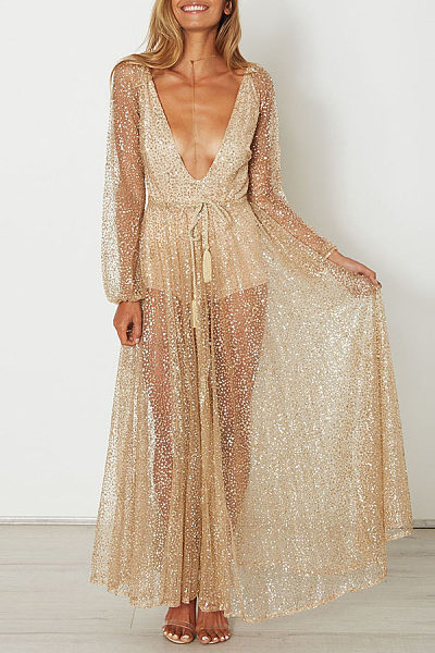 Deep V Neck Sequin See Through Maxi Dresses