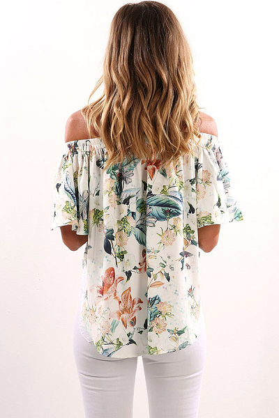 Off Shoulder  Backless  Smocked Bodice  Floral T-Shirts