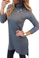 High Neck  Asymmetric Hem Side Vented  Plain Sweaters