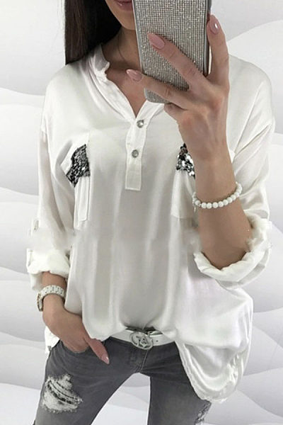 Button Neck Roll Up Sleeves Sequins Lace Patchwork Blouses