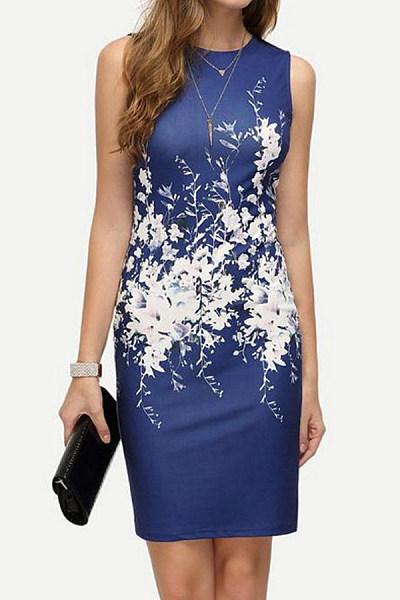 Round Neck  Floral  Sleeveless Bodycon Dresses