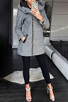 Fashion Pure Colour Long Sleeve Side Zippper Hoodie