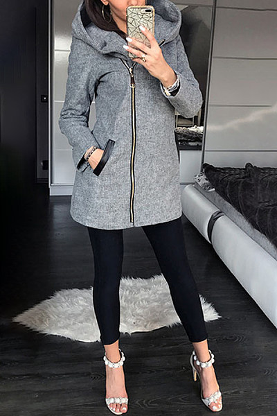 Fashion Pure Colour Long Sleeve Side Zippper Hoodie