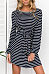 Round Neck  Belt  Striped  Long Sleeve Casual Dresses