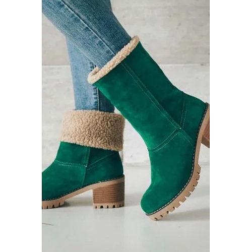Women Warm Square Heels Multicolor Snow Boots