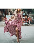 Off-The-Shoulder Bohemian Printed Beach Dress