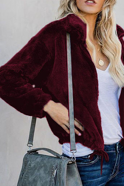 Fold Over Collar  Loose Fitting  Plain Outerwear