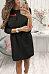 Round Neck  Zipper  Plain  Long Sleeve Casual Dresses
