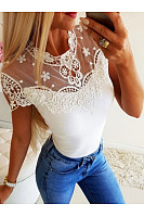 Lace Patchwork Short Sleeve Elegant T-Shirts
