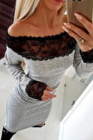 Off Shoulder  Decorative Lace  Patchwork  Long Sleeve Bodycon Dresses