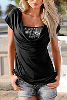 Square Neck  Contrast Trim  Plain T-Shirts