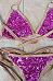 Halter  Contrast Trim  Glitter  Patchwork Bikini