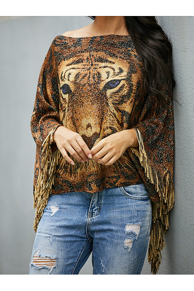 Square Neck  Asymmetric Hem  Animal Prints Sweaters