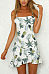 Spaghetti Strap  Asymmetric Hem Flounce  Printed  Short Sleeve Casual Dresses