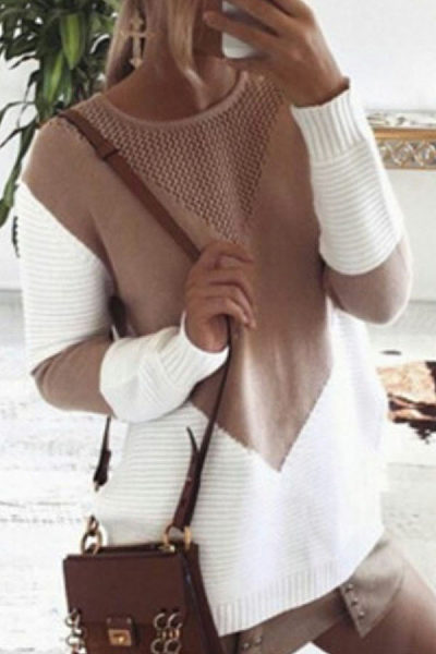 Round Neck  Color Block Sweaters