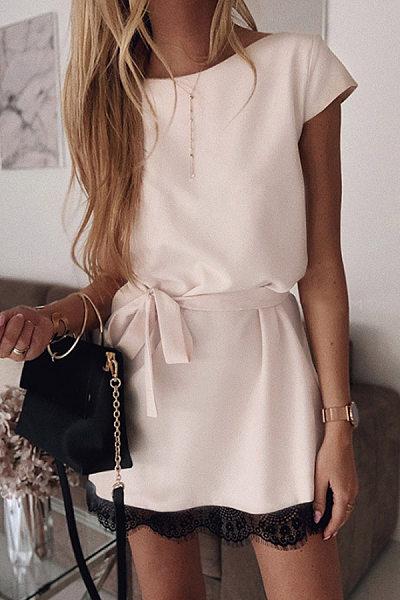 Round Neck Decorative Lace Plain Casual Dresses