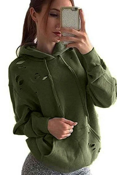 Hooded  Kangaroo Pocket  Plain Hoodies