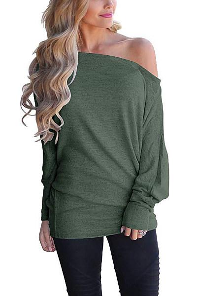 Casual Solid Color Off Shoulder Loose Bat Sleeve Long Sleeve T-Shirt