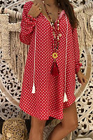 V Neck  Asymmetric Hem  Dot  Long Sleeve Casual Dresses