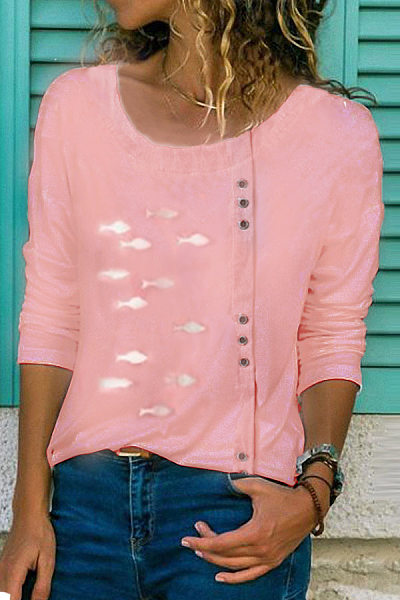 Casual Loose Round Neck Button Printed Colour Shirt