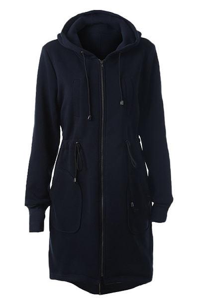Drawstring Waist Longline Pockets Hooded Jacket