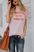 Round Neck  Letters T-Shirts