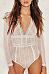 V Neck Lace Backless Bodysuits