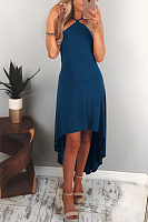 Halter  Asymmetric Hem Backless  Plain  Sleeveless Maxi Dresses