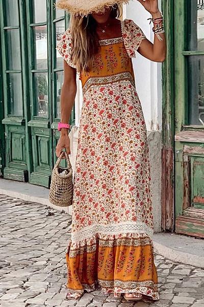 Bohemian Printed Square Ruffle Short Sleeve Panel Dresses