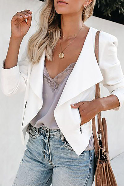 Europe And America Style Pure Color Long Sleeve Blazer