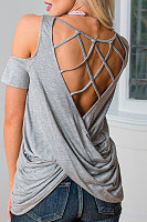 Crew Neck  Backless  Back Hole  Plain T-Shirts