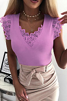 V Neck Lace Patchwork Sleeveless T-Shirts