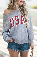 One  Shoulder  Letters  Basic  Sweatshirts