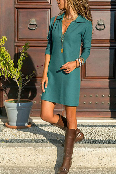 Deep V Neck  Plain  Long Sleeve Casual Dresses