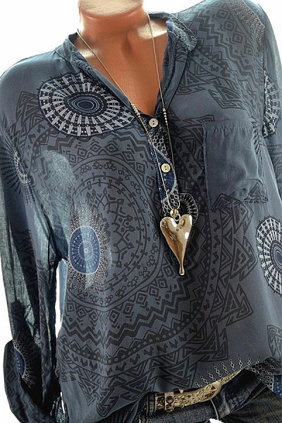 A Lapel  Patchwork  Fashion  Printed  Long Sleeve Blouses