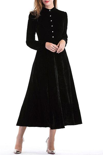 Single Breasted  Plain Maxi Dresses