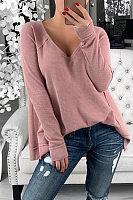 Fashion V Neck Pure Colour T-Shirt