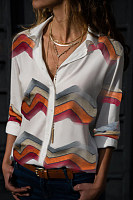 Casual Fold-Over Collar Single-Breasted Color Striped Long-Sleeved Shirt