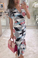 V Neck  Asymmetric Hem  Cascading Ruffles  Abstract Print  Short Sleeve Bodycon Dresses