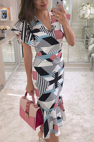 V Neck  Asymmetric Hem  Cascading Ruffles  Abstract Print  Short Sleeve Bodycon Dresses