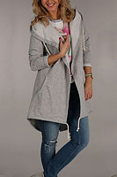Hooded  Backless Drawstring Slit Pocket  Plain Outerwear