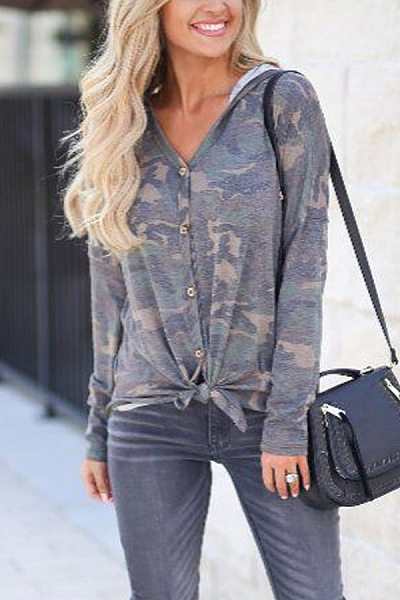 Hooded  Single Breasted  Camouflage Cardigans