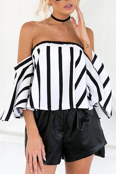 Off Shoulder  Striped  Bell Sleeve  Blouses